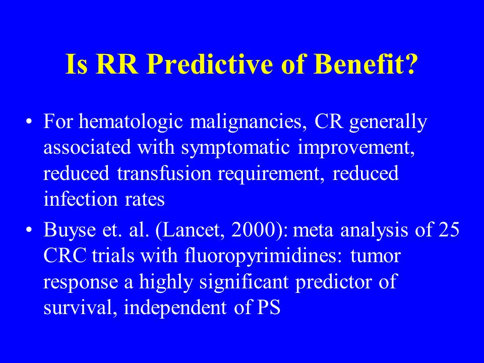Is RR Predictive of Benefit.