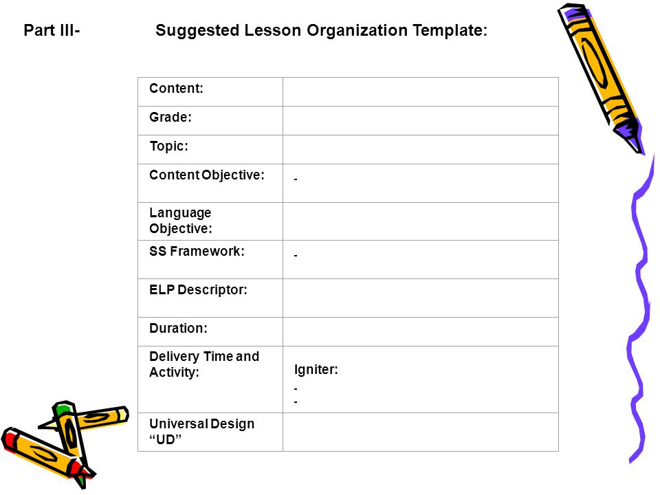 Part III-Suggested Lesson Organization Template: Content: Grade: Topic: Content Objective: Language Objective: SS Framework: ELP Descriptor: Duration: Delivery Time and Activity: Igniter: Universal Design UD