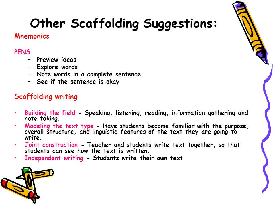 Other Scaffolding Suggestions: Mnemonics PENS –Preview ideas –Explore words –Note words in a complete sentence –See if the sentence is okay Scaffolding writing Building the field - Speaking, listening, reading, information gathering and note taking.