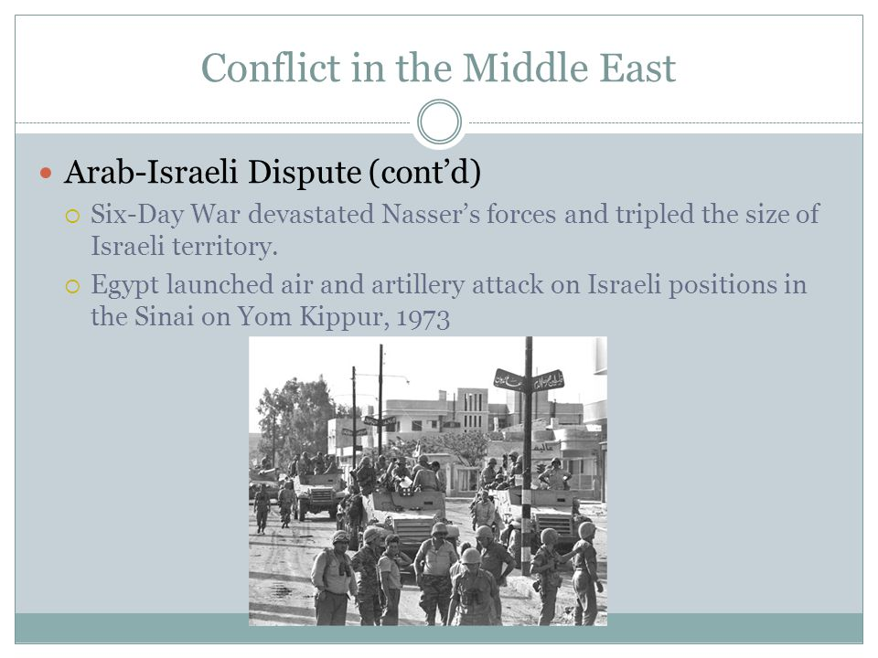 Conflict in the Middle East Arab-Israeli Dispute (cont'd)  Six-Day War devastated Nasser's forces and tripled the size of Israeli territory.