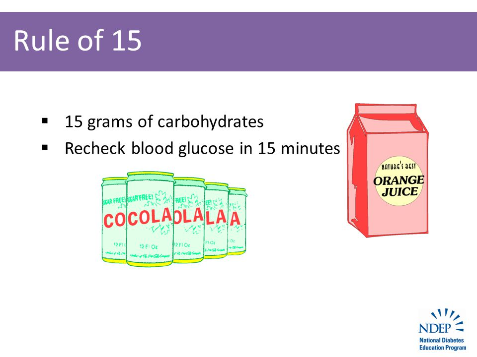 Rule of 15  15 grams of carbohydrates  Recheck blood glucose in 15 minutes