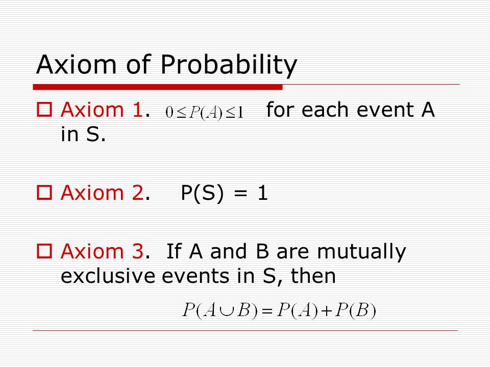 Axiom of Probability  Axiom 1. for each event A in S.