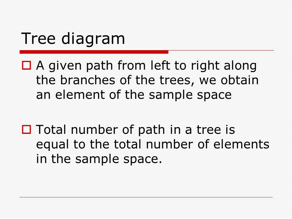 Tree diagram  A given path from left to right along the branches of the trees, we obtain an element of the sample space  Total number of path in a tree is equal to the total number of elements in the sample space.