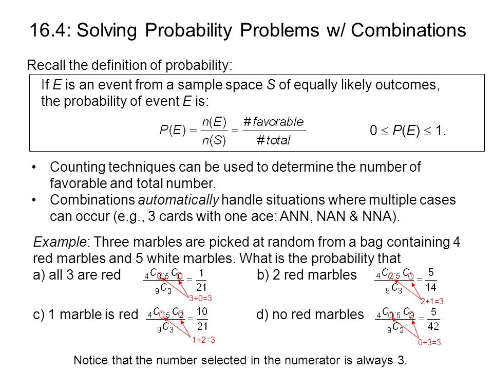 16 4 Probability Problems Solved with Combinations  - ppt download