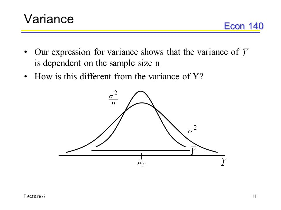 Econ 140 Lecture 611 Variance Our expression for variance shows that the variance of is dependent on the sample size n How is this different from the variance of Y