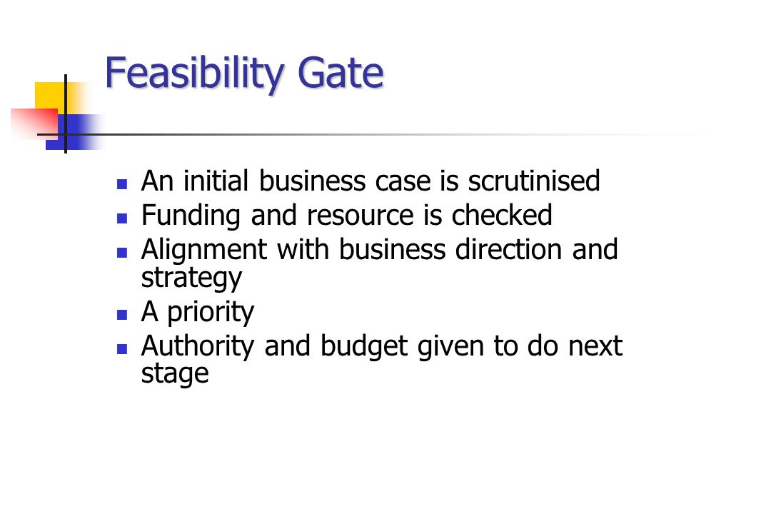 Feasibility Gate An initial business case is scrutinised Funding and resource is checked Alignment with business direction and strategy A priority Authority and budget given to do next stage