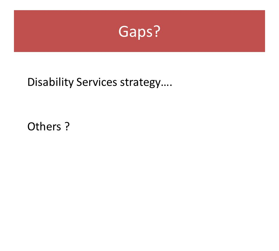 Gaps Disability Services strategy…. Others