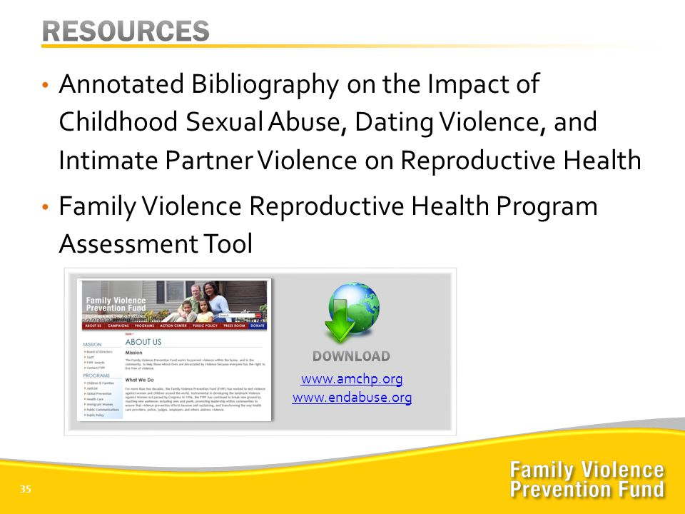 Annotated Bibliography on the Impact of Childhood Sexual Abuse, Dating Violence, and Intimate Partner Violence on Reproductive Health Family Violence Reproductive Health Program Assessment Tool