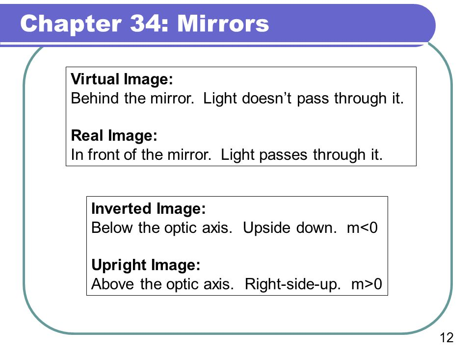 Chapter 34: Mirrors 11 The Spherical Concave Mirror In this case, the image is behind the mirror.