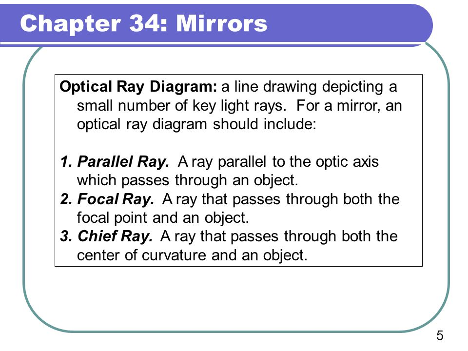 Chapter 34: Mirrors 4 radius of curvature, r Focal Point: The place where the reflections of parallel rays converge.