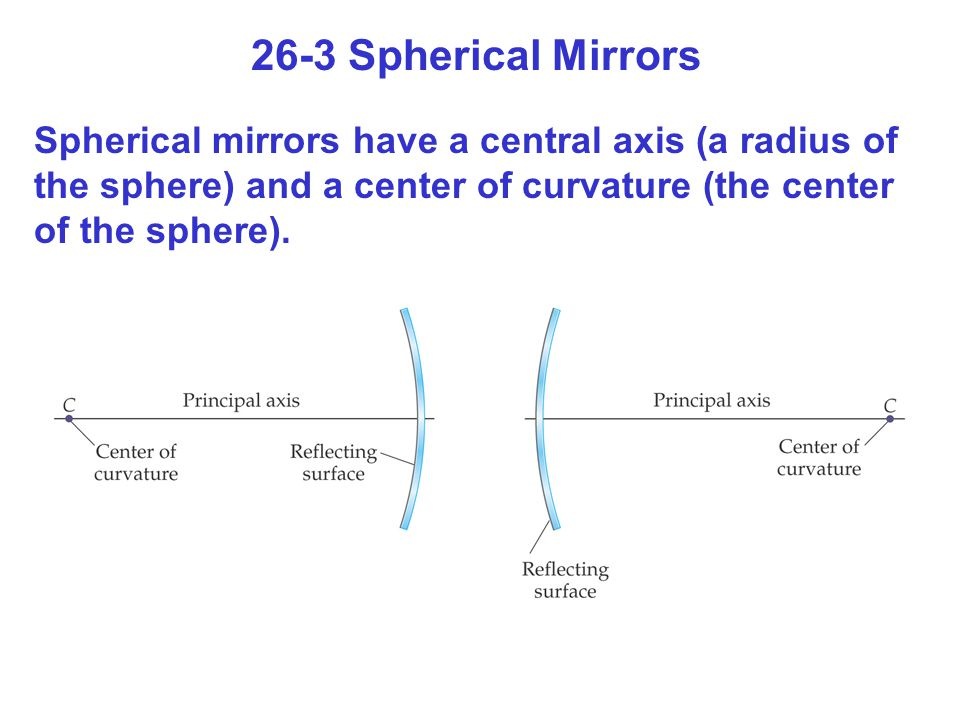 26-3 Spherical Mirrors Spherical mirrors have a central axis (a radius of the sphere) and a center of curvature (the center of the sphere).