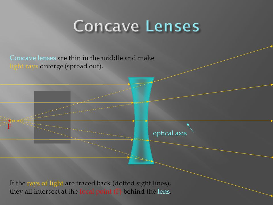 Concave lenses are thin in the middle and make light rays diverge (spread out).