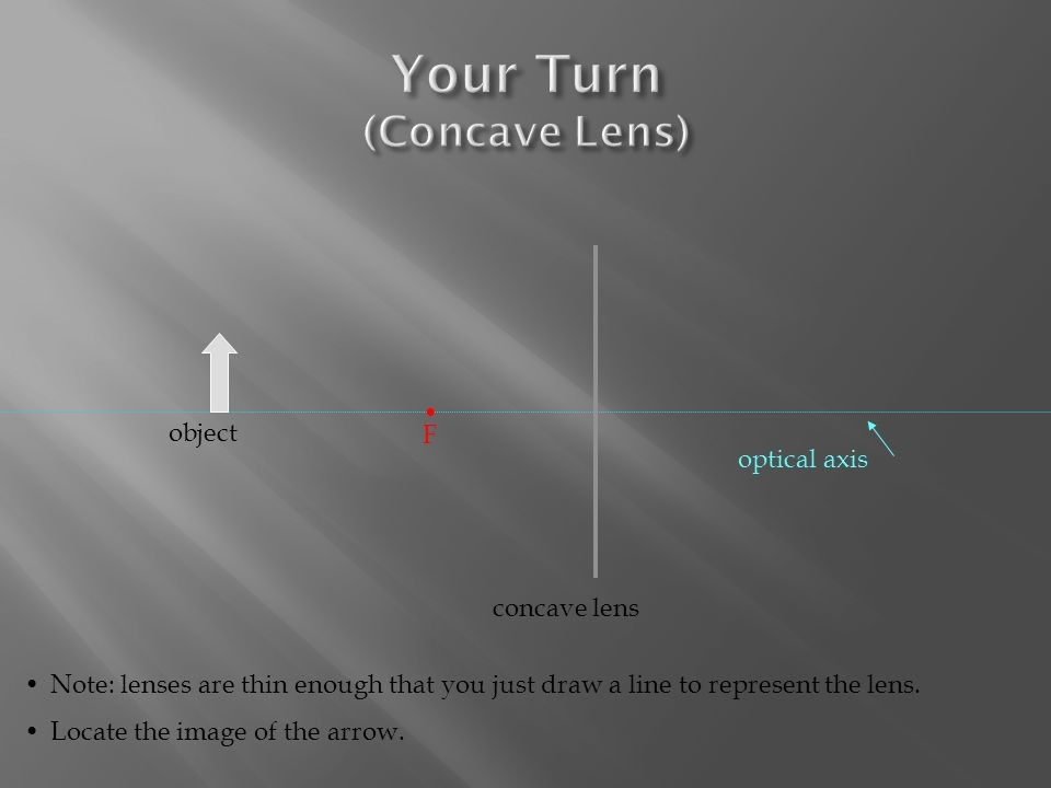 optical axis F Note: lenses are thin enough that you just draw a line to represent the lens.