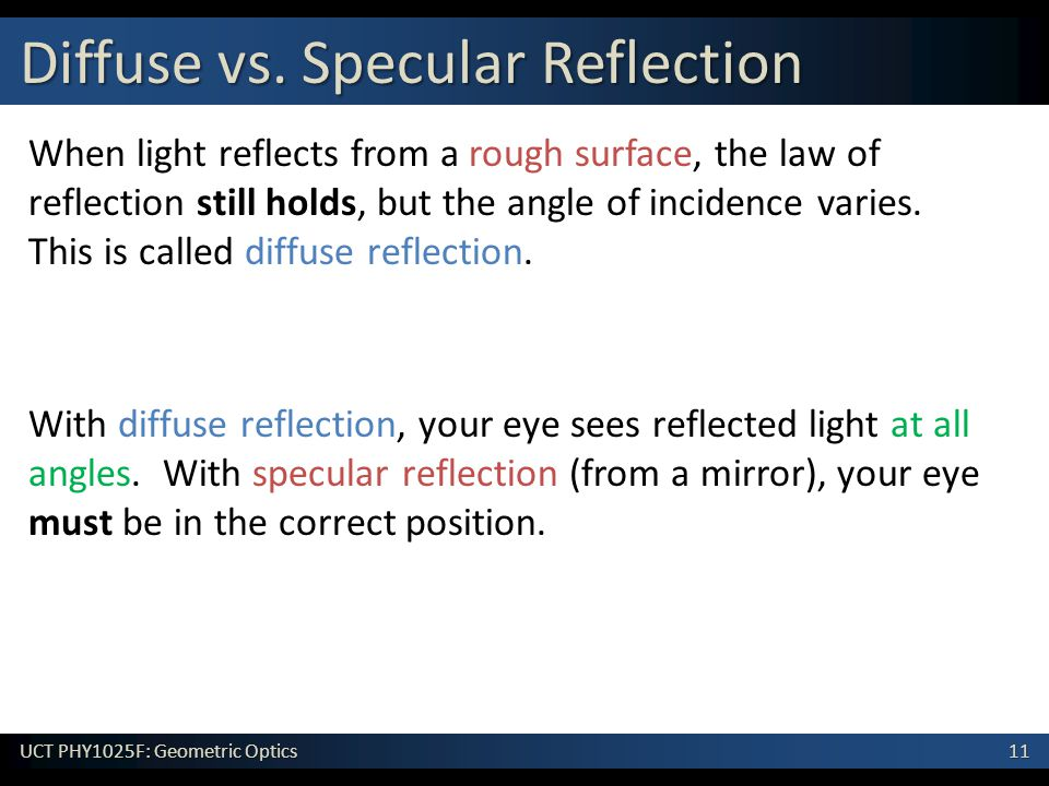 11 UCT PHY1025F: Geometric Optics When light reflects from a rough surface, the law of reflection still holds, but the angle of incidence varies.