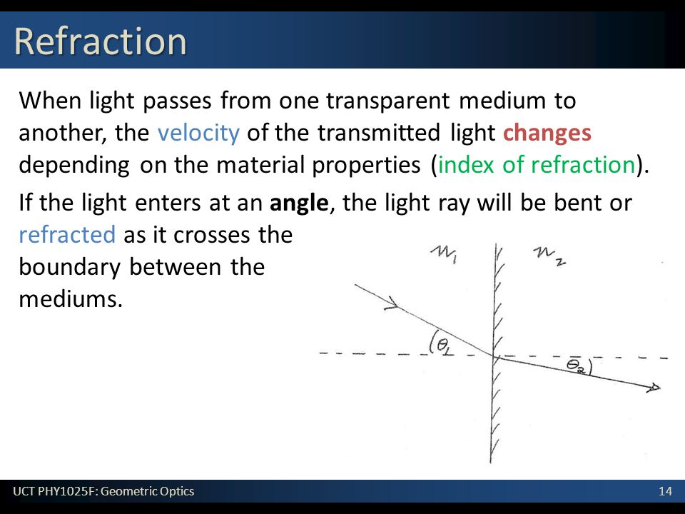 14 UCT PHY1025F: Geometric Optics When light passes from one transparent medium to another, the velocity of the transmitted light changes depending on the material properties (index of refraction).
