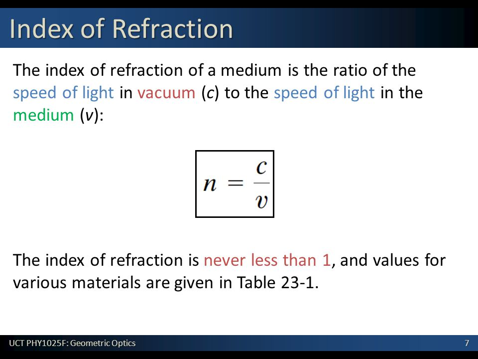 7 UCT PHY1025F: Geometric Optics The index of refraction of a medium is the ratio of the speed of light in vacuum (c) to the speed of light in the medium (v): The index of refraction is never less than 1, and values for various materials are given in Table 23-1.