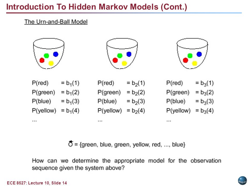 ECE 8527: Lecture 10, Slide 14 Introduction To Hidden Markov Models (Cont.)
