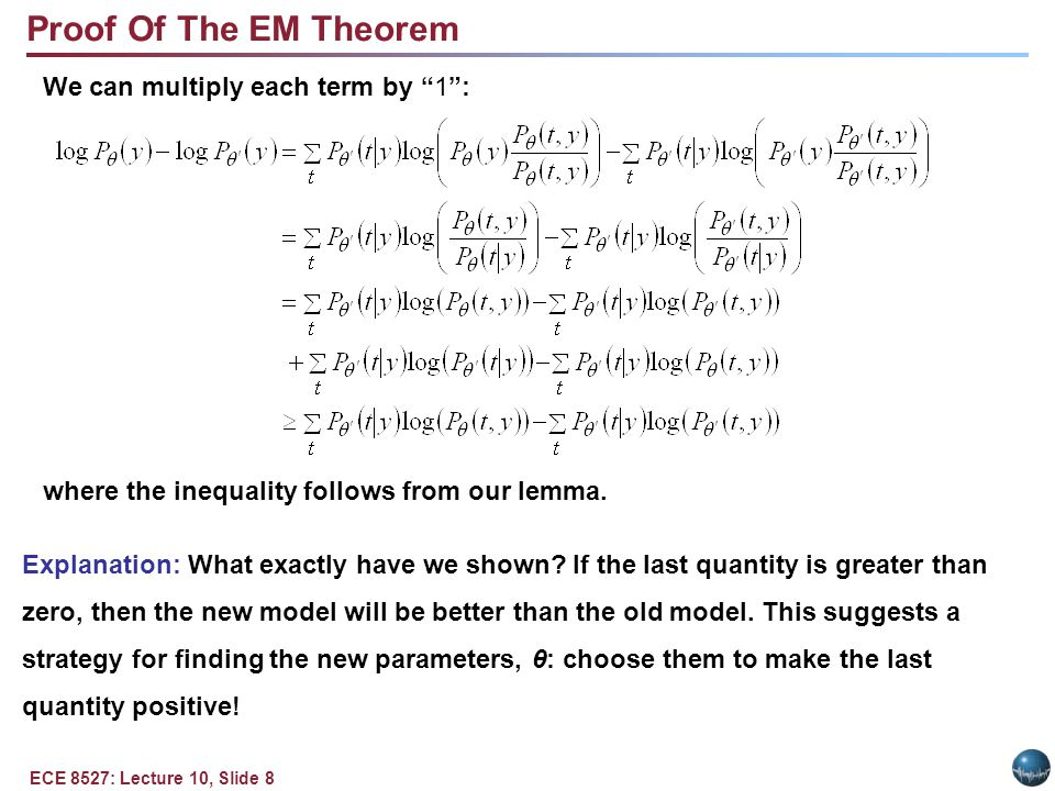 ECE 8527: Lecture 10, Slide 8 We can multiply each term by 1 : where the inequality follows from our lemma.