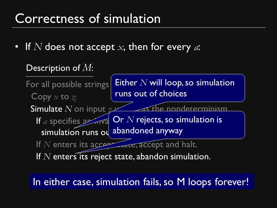 Correctness of simulation If N does not accept x, then for every a : For all possible strings a : Copy x to z.