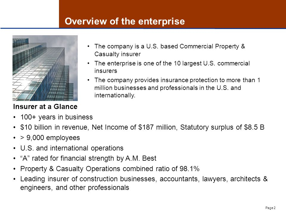 Page 2 Overview of the enterprise Insurer at a Glance 100+ years in business $10 billion in revenue, Net Income of $187 million, Statutory surplus of $8.5 B > 9,000 employees U.S.
