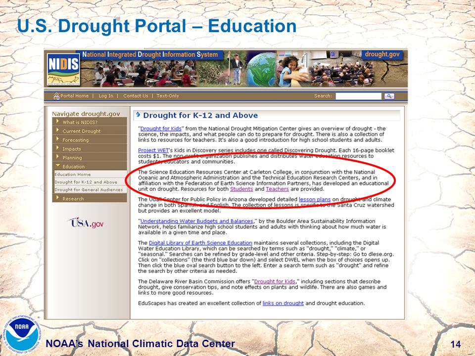 14 NOAA's National Climatic Data Center U.S. Drought Portal – Education