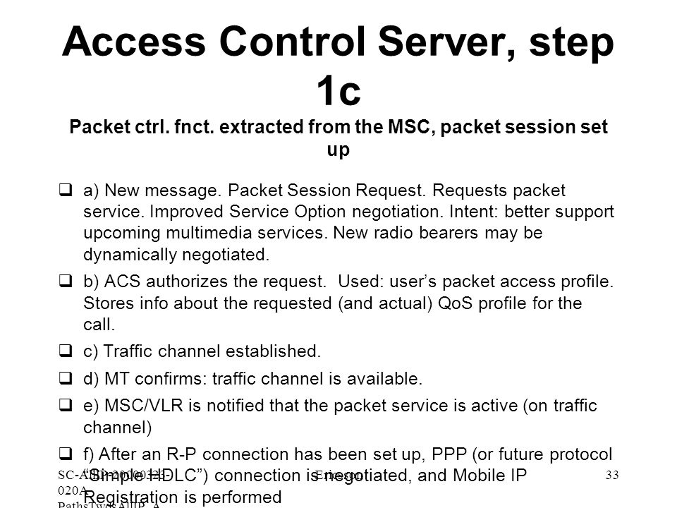 SC-AllIP A- PathsTwdsAllIP_A Ericsson33 Access Control Server, step 1c Packet ctrl.