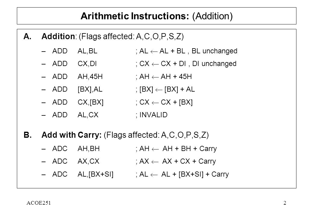 Acoe2511 Assembly Language Arithmetic And Logic Instructions Ppt