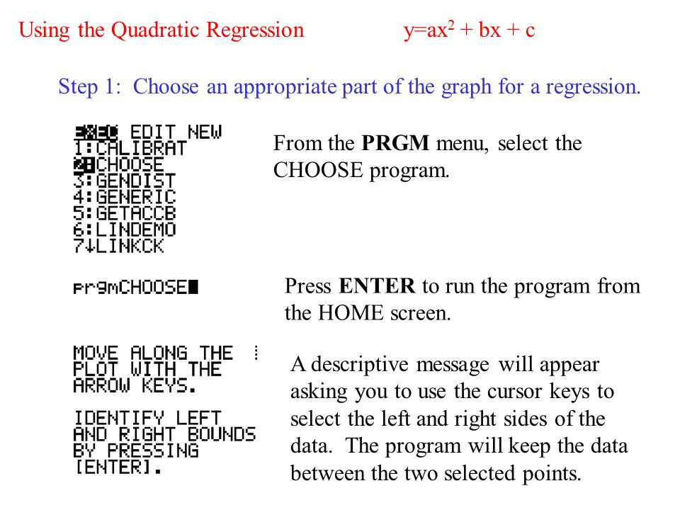 Finding the Equation of a Quadratic Using QUADDATA recorded by