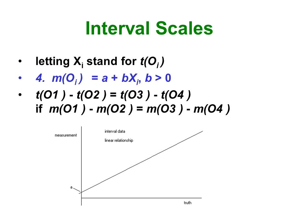Interval Scales letting X i stand for t(O i ) 4.