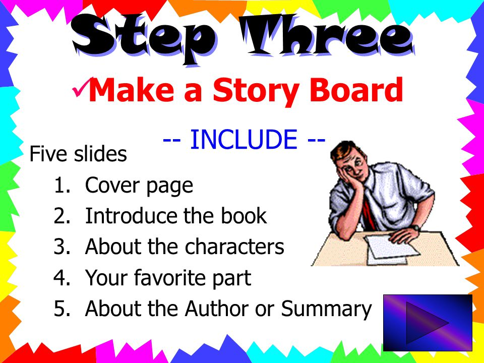 Step Two  Search For Graphics  Look at    Find your books cover to include in the presentation.