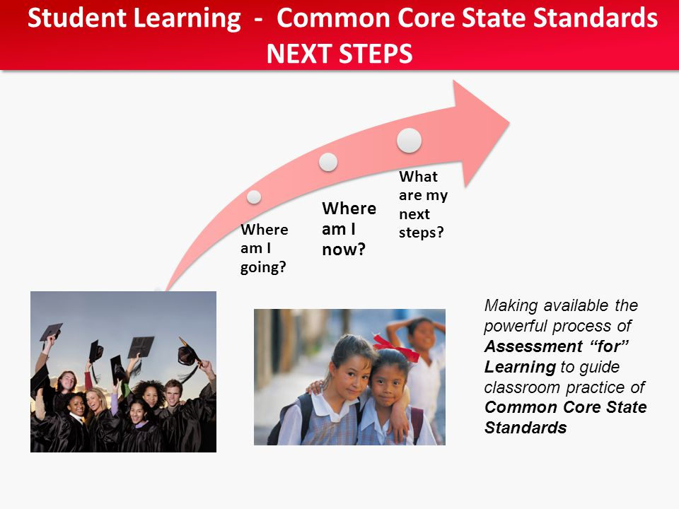 Student Learning - Common Core State Standards NEXT STEPS Student Learning - Common Core State Standards NEXT STEPS Making available the powerful process of Assessment for Learning to guide classroom practice of Common Core State Standards Where am I going.