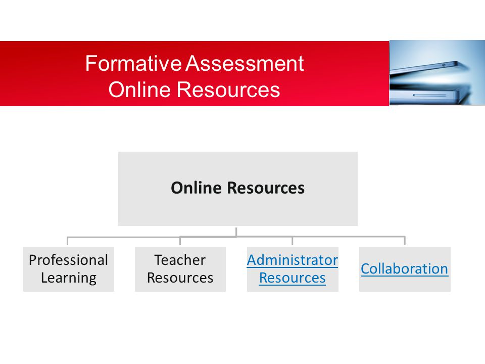 Online Resources Teacher Resources Professional Learning Administrator Resources Collaboration Formative Assessment Online Resources