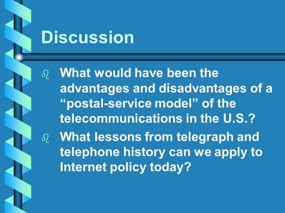 advantages and disadvantages of postal services