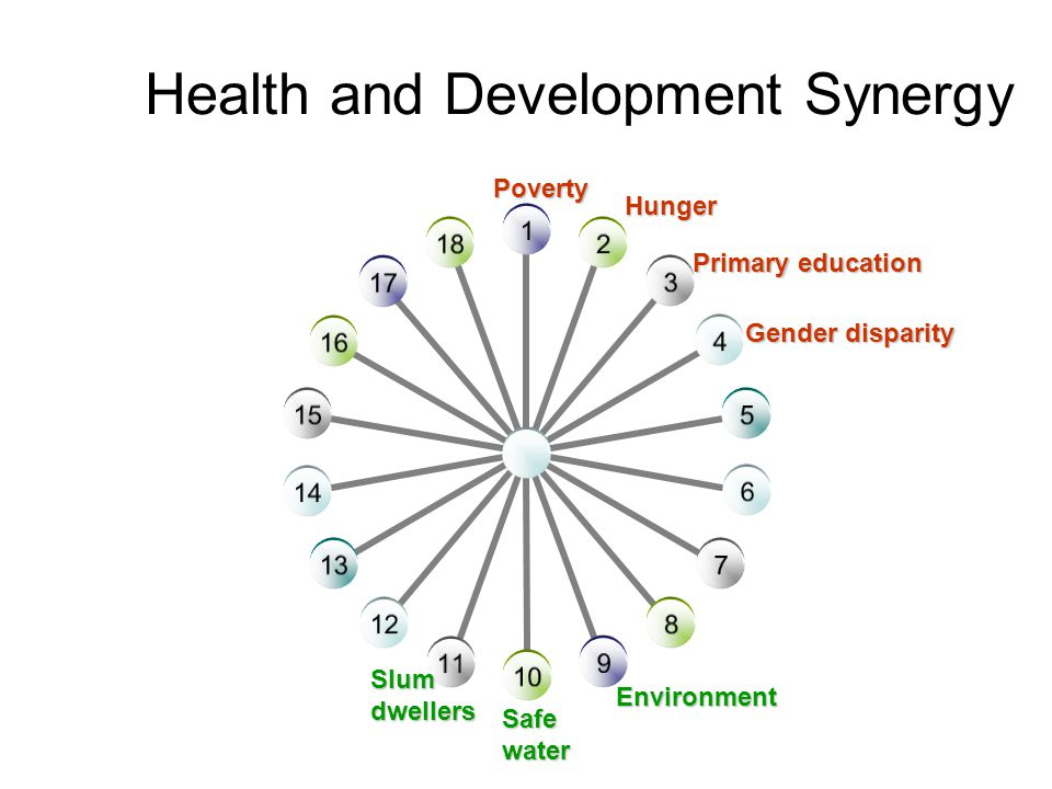 Health and Development Synergy Safewater Poverty Hunger Primary education Gender disparity Environment Slumdwellers