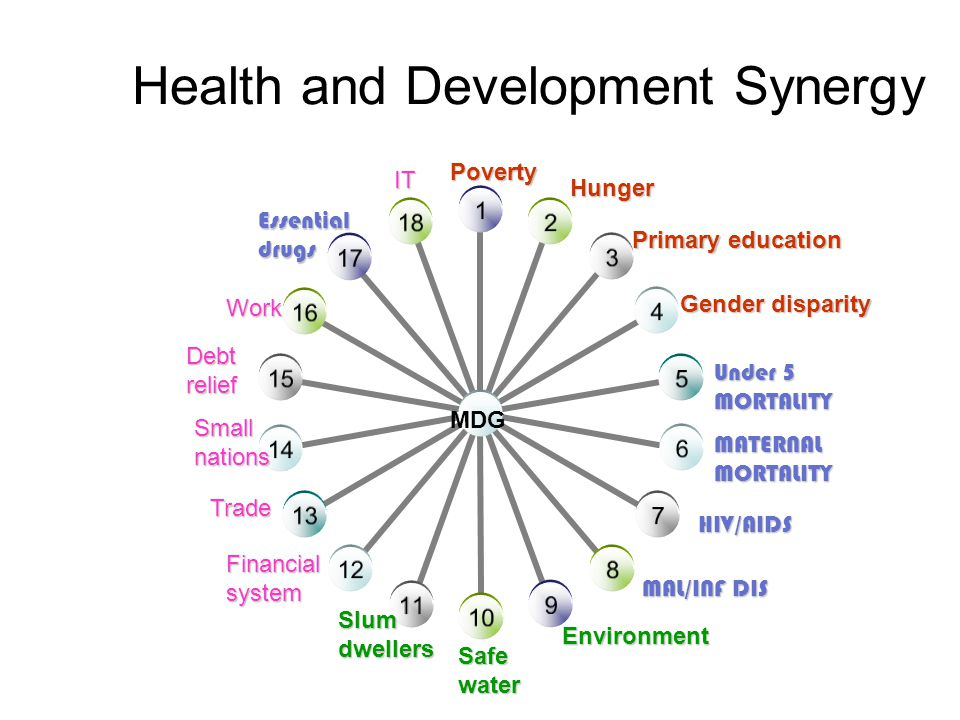 Health and Development Synergy Under 5 MORTALITY MATERNALMORTALITY HIV/AIDS MAL/INF DIS Safewater Poverty Hunger Primary education Gender disparity Environment Slumdwellers Essentialdrugs Financialsystem Trade Smallnations Debt relief Work IT MDG