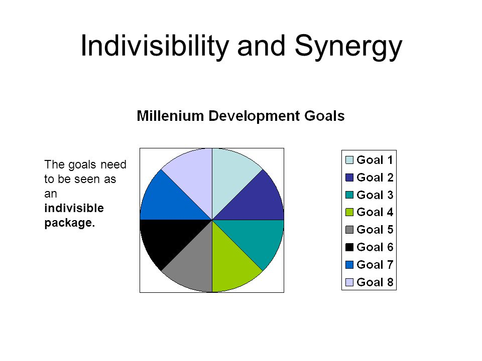 Indivisibility and Synergy The goals need to be seen as an indivisible package.
