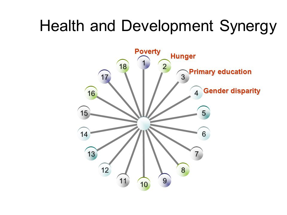 Health and Development Synergy Poverty Hunger Primary education Gender disparity