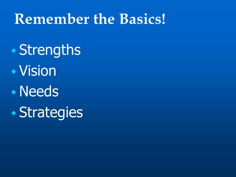 Remember the Basics!  Strengths  Vision  Needs  Strategies