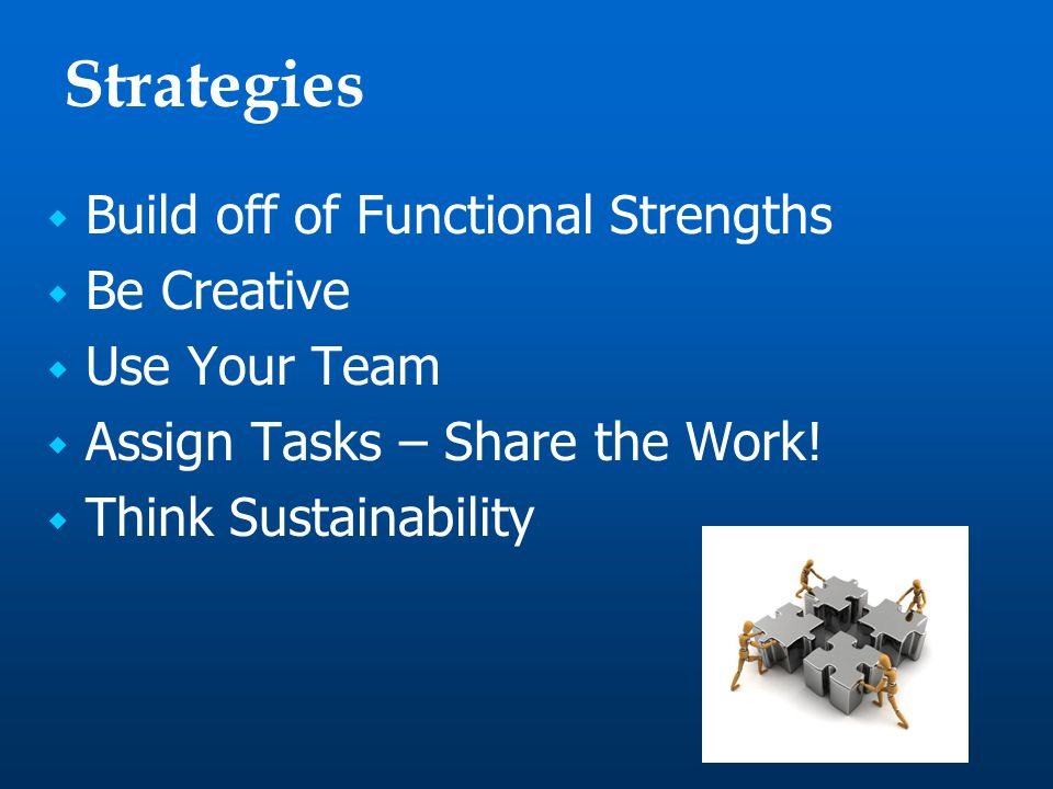 Strategies  Build off of Functional Strengths  Be Creative  Use Your Team  Assign Tasks – Share the Work.