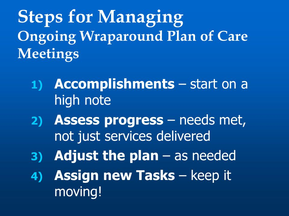 1) Accomplishments – start on a high note 2) Assess progress – needs met, not just services delivered 3) Adjust the plan – as needed 4) Assign new Tasks – keep it moving.