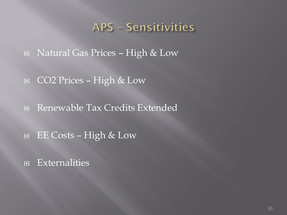  Natural Gas Prices – High & Low  CO2 Prices – High & Low  Renewable Tax Credits Extended  EE Costs – High & Low  Externalities 35
