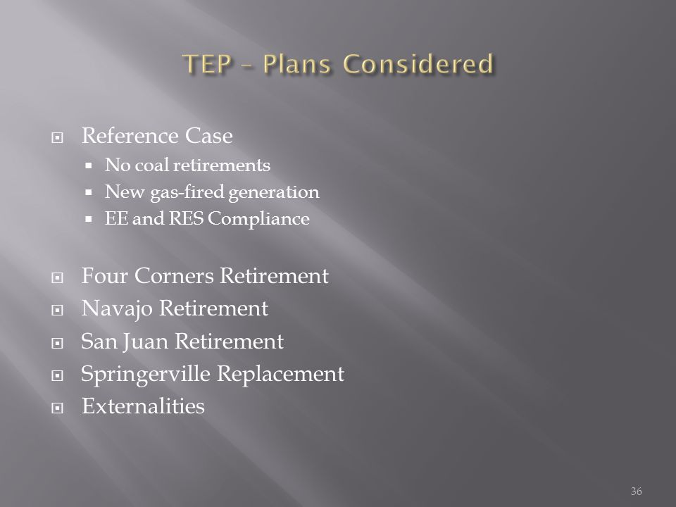  Reference Case  No coal retirements  New gas-fired generation  EE and RES Compliance  Four Corners Retirement  Navajo Retirement  San Juan Retirement  Springerville Replacement  Externalities 36