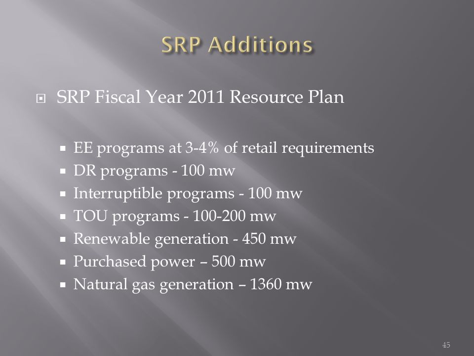  SRP Fiscal Year 2011 Resource Plan  EE programs at 3-4% of retail requirements  DR programs mw  Interruptible programs mw  TOU programs mw  Renewable generation mw  Purchased power – 500 mw  Natural gas generation – 1360 mw 45