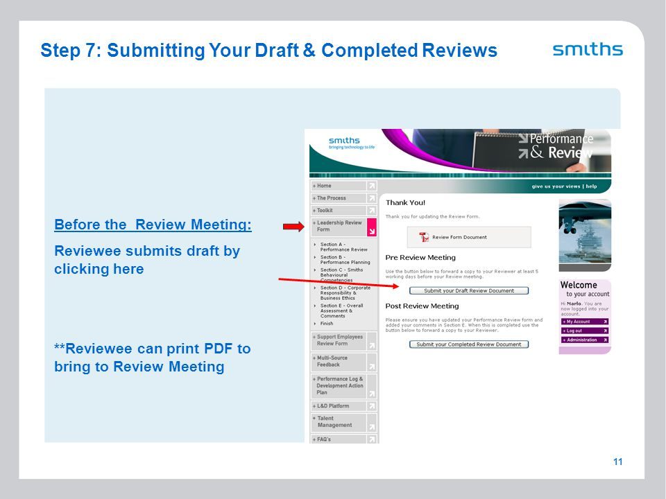 11 Before the Review Meeting: Reviewee submits draft by clicking here **Reviewee can print PDF to bring to Review Meeting Step 7: Submitting Your Draft & Completed Reviews
