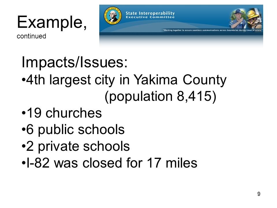 9 Example, continued Impacts/Issues: 4th largest city in Yakima County (population 8,415) 19 churches 6 public schools 2 private schools I-82 was closed for 17 miles