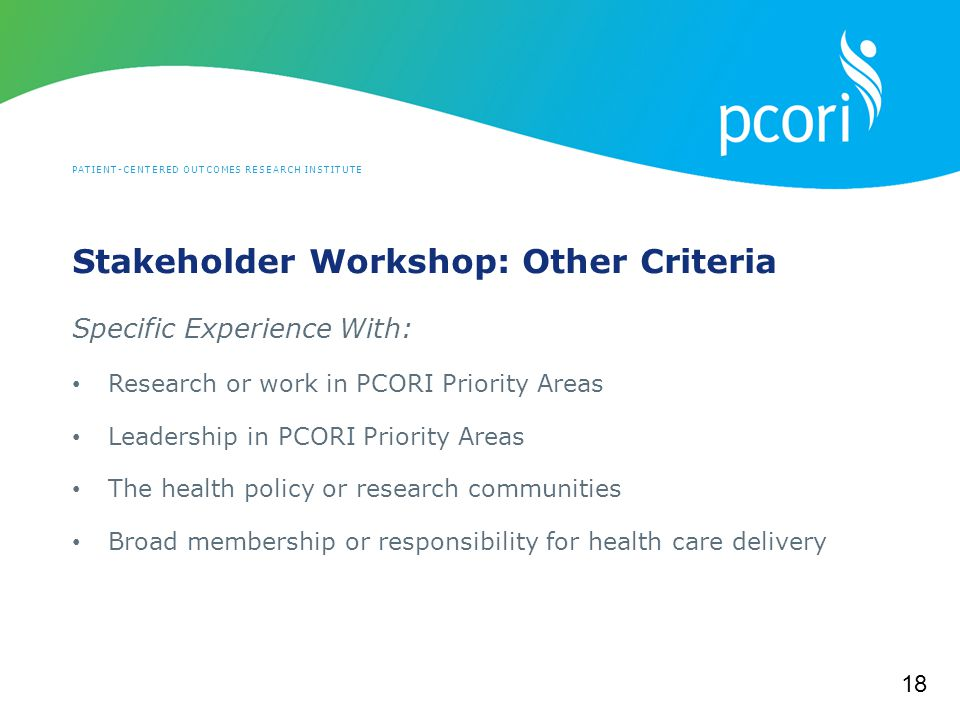 PATIENT-CENTERED OUTCOMES RESEARCH INSTITUTE Stakeholder Workshop: Other Criteria Specific Experience With: Research or work in PCORI Priority Areas Leadership in PCORI Priority Areas The health policy or research communities Broad membership or responsibility for health care delivery 18