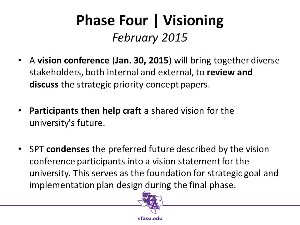 Phase Four | Visioning February 2015 A vision conference (Jan.