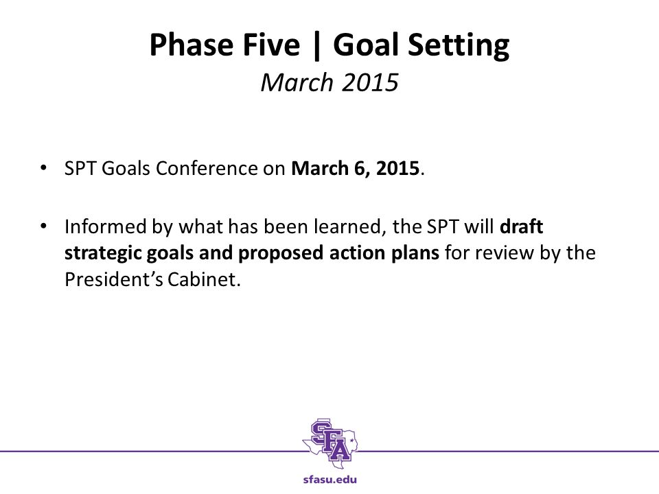 Phase Five | Goal Setting March 2015 SPT Goals Conference on March 6, 2015.
