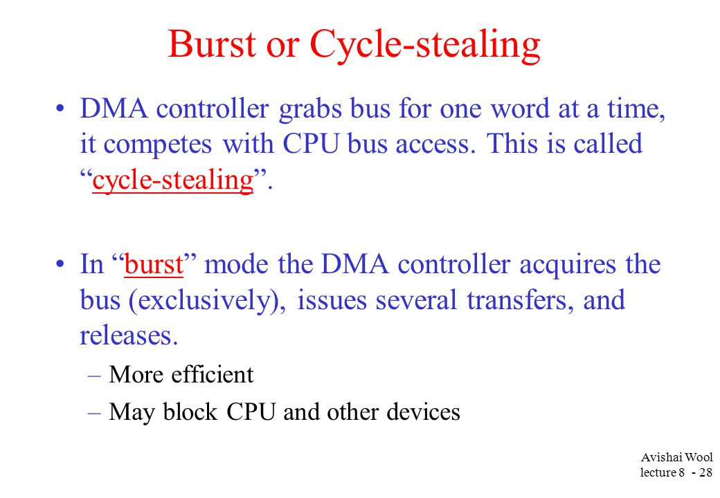 Avishai Wool lecture Burst or Cycle-stealing DMA controller grabs bus for one word at a time, it competes with CPU bus access.