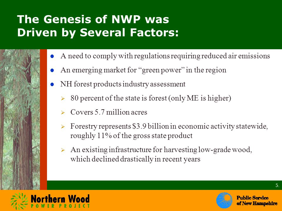 The Genesis of NWP was Driven by Several Factors: A need to comply with regulations requiring reduced air emissions An emerging market for green power in the region NH forest products industry assessment  80 percent of the state is forest (only ME is higher)  Covers 5.7 million acres  Forestry represents $3.9 billion in economic activity statewide, roughly 11% of the gross state product  An existing infrastructure for harvesting low-grade wood, which declined drastically in recent years 5.